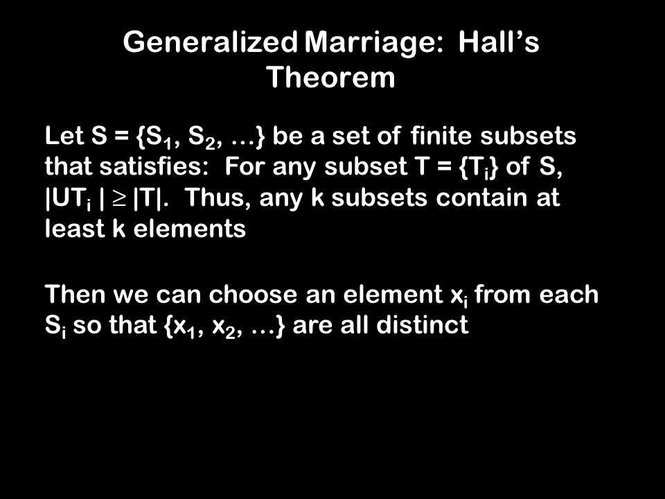 Generalized Marriage: Hall's Theorem