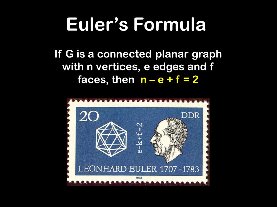 Euler's Formula If G is a connected planar graph with n vertices, e edges and f faces, then n – e + f = 2.