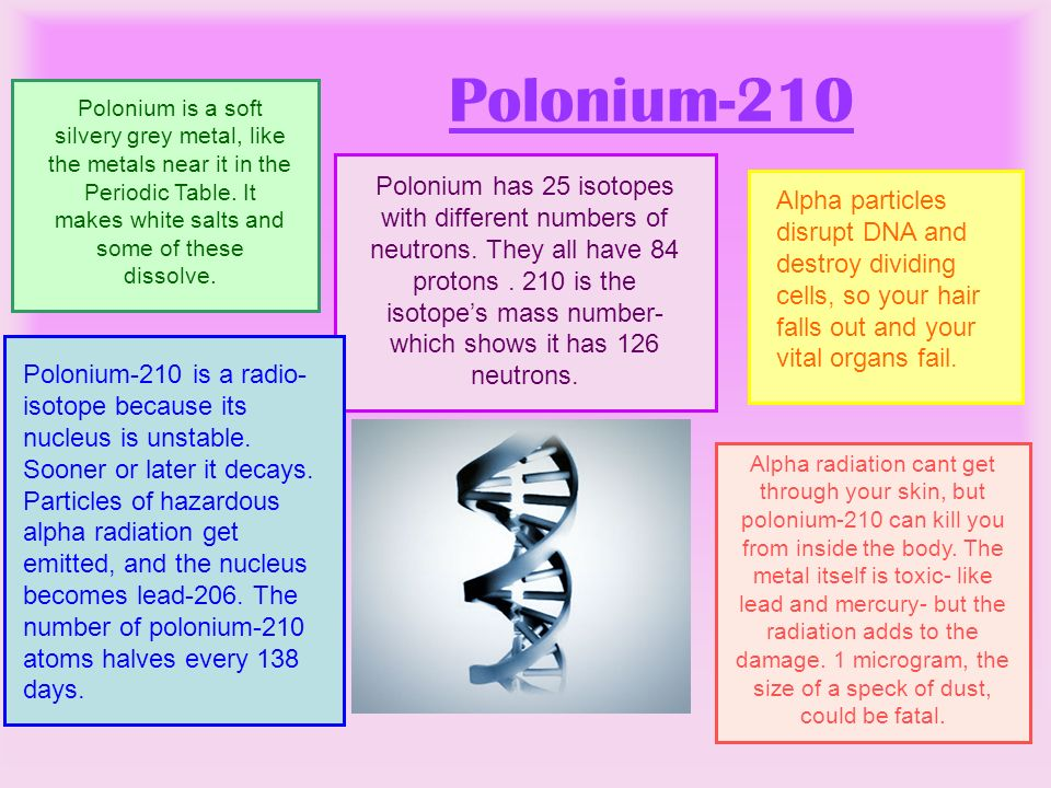 Polonium-210 Polonium is a soft silvery grey metal, like the metals near it in the Periodic Table. It makes white salts and some of these dissolve.