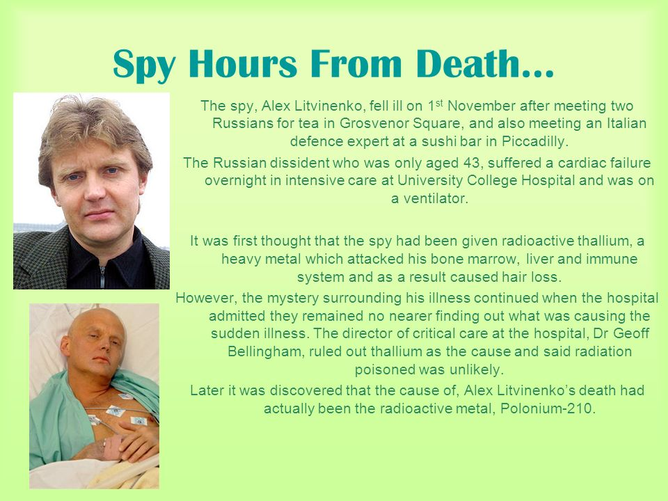 Spy Hours From Death…
