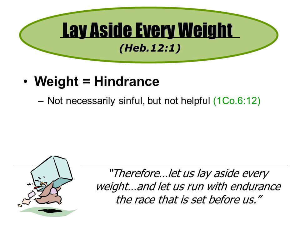Lay Aside Every Weight Weight = Hindrance