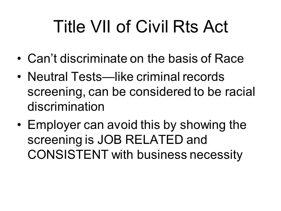 Title VII of Civil Rts Act