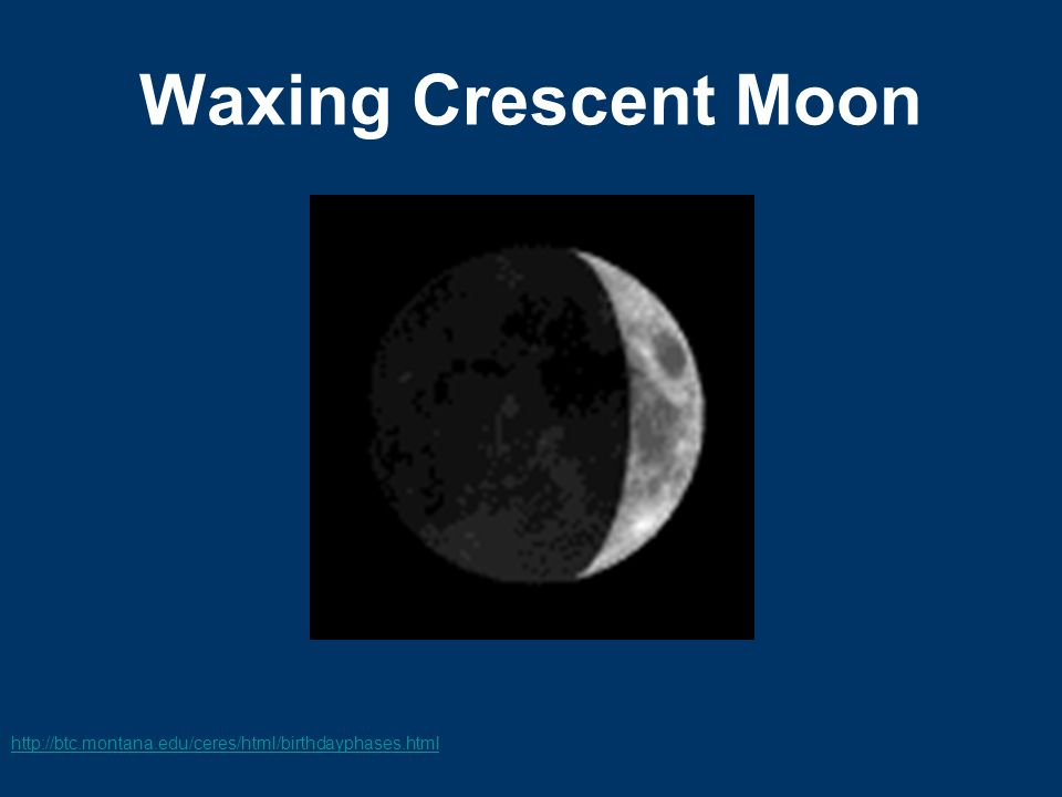 Waxing Crescent Moon http://btc.montana.edu/ceres/html/birthdayphases.html