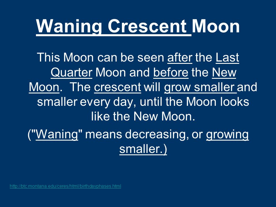 ( Waning means decreasing, or growing smaller.)