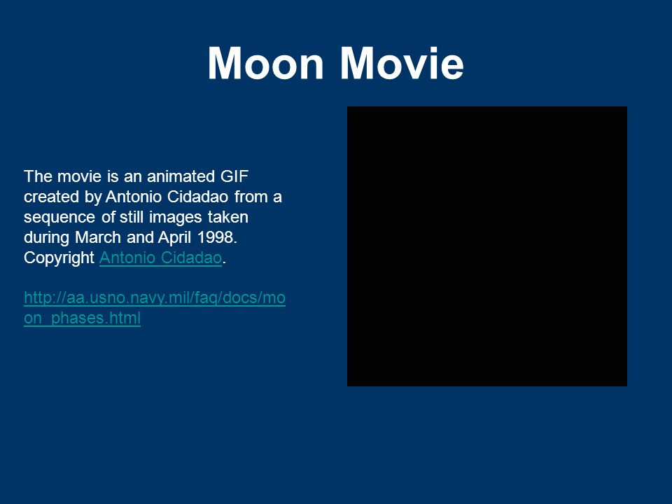 Moon Movie The movie is an animated GIF created by Antonio Cidadao from a sequence of still images taken during March and April 1998.