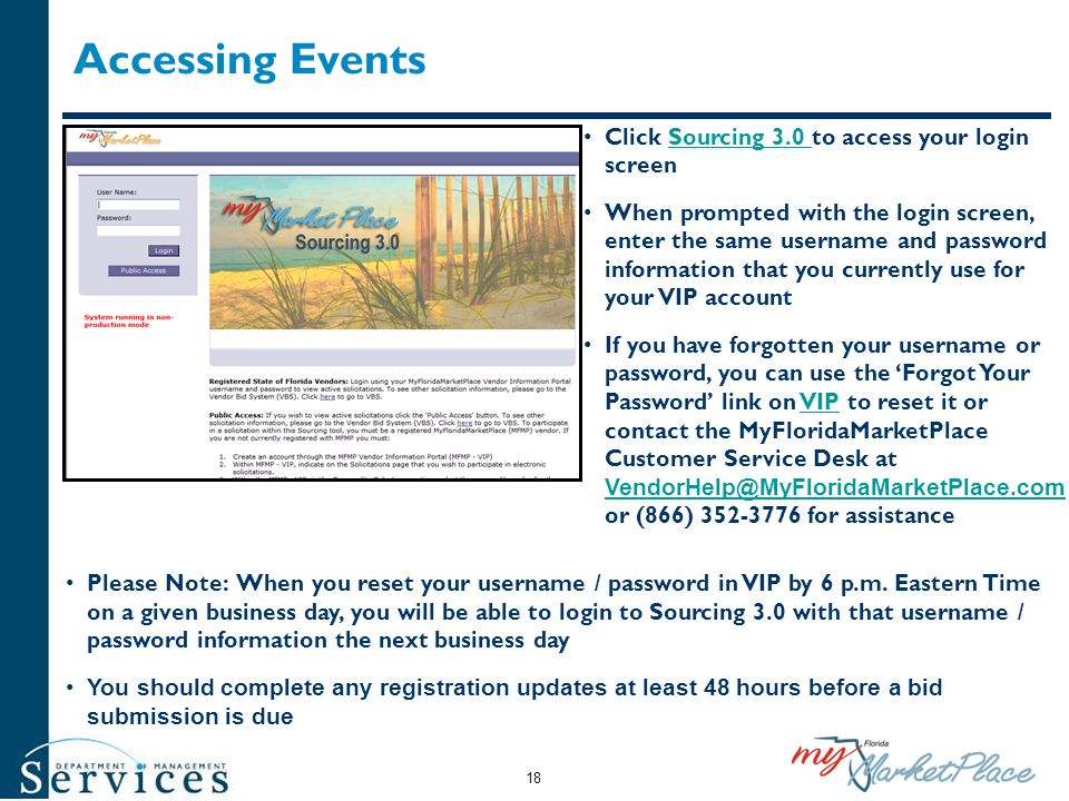 Accessing Events Click Sourcing 3.0 to access your login screen