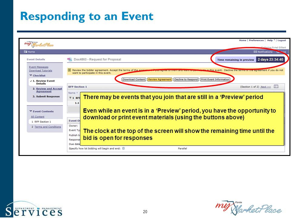 Responding to an Event There may be events that you join that are still in a 'Preview' period.