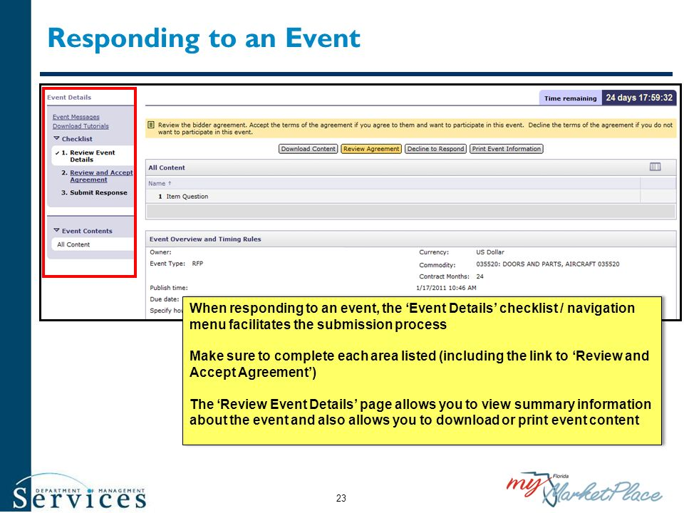 Responding to an Event When responding to an event, the 'Event Details' checklist / navigation menu facilitates the submission process.