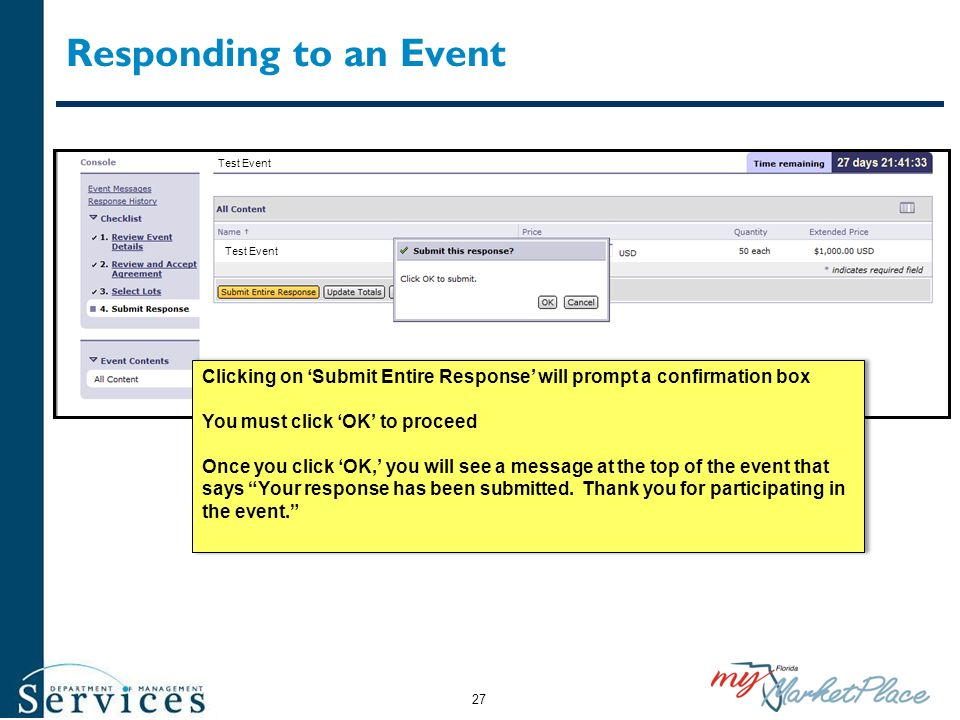 Responding to an Event Test Event. Clicking on 'Submit Entire Response' will prompt a confirmation box.