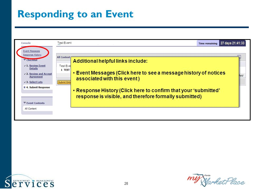 Responding to an Event Additional helpful links include:
