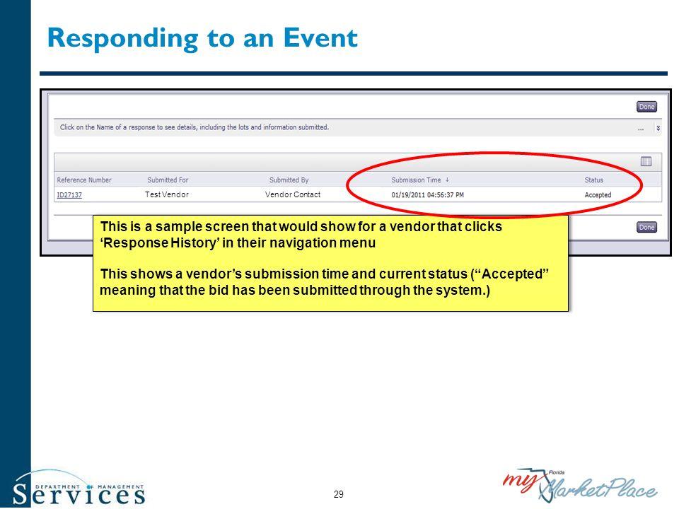 Responding to an Event Test Vendor. Vendor Contact.
