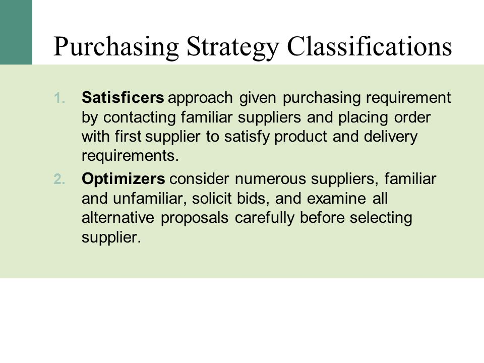 Purchasing Strategy Classifications
