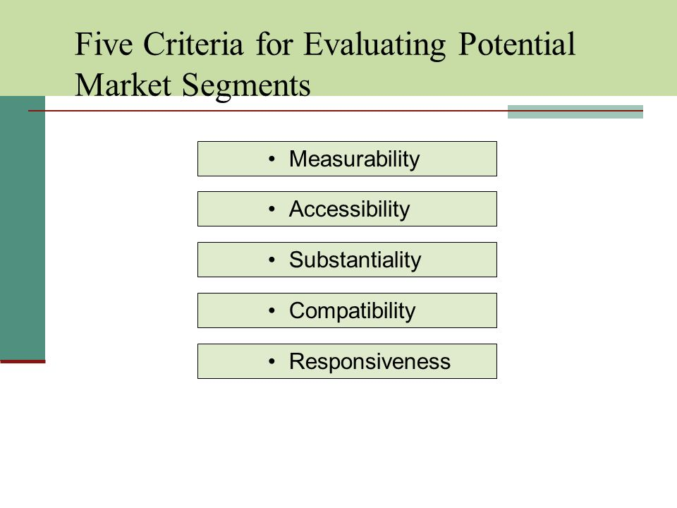 Five Criteria for Evaluating Potential Market Segments