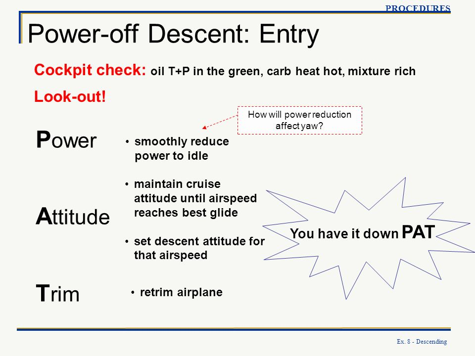 Power-off Descent: Entry
