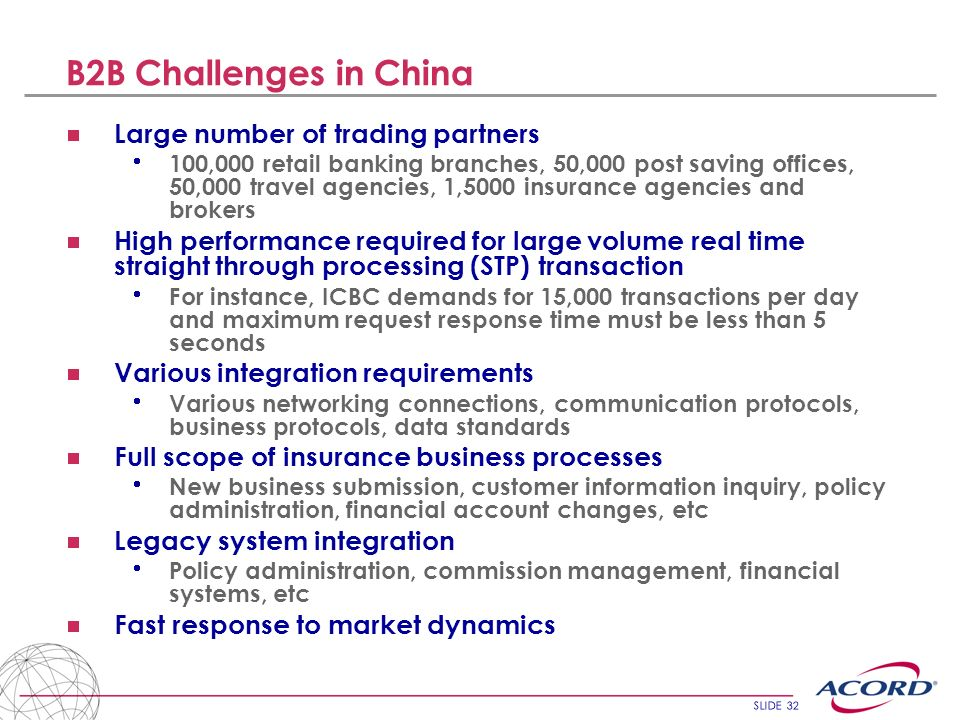 B2B Challenges in China Large number of trading partners