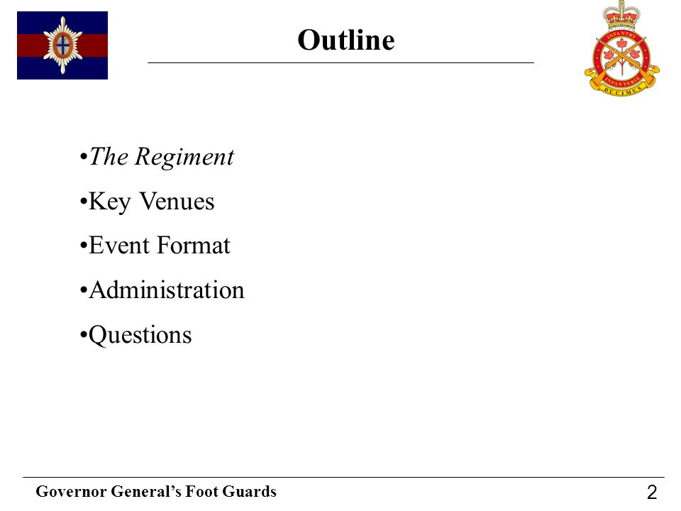 Outline The Regiment Key Venues Event Format Administration Questions