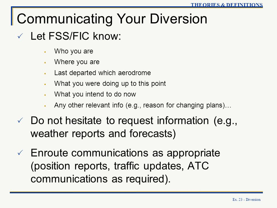 Communicating Your Diversion