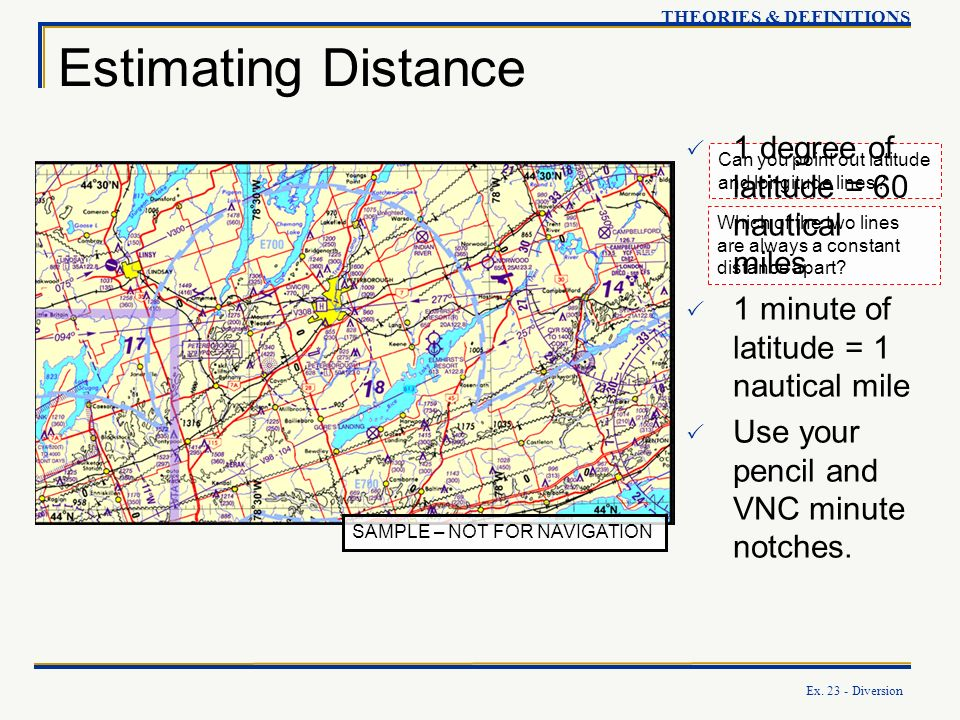 Estimating Distance 1 degree of latitude = 60 nautical miles