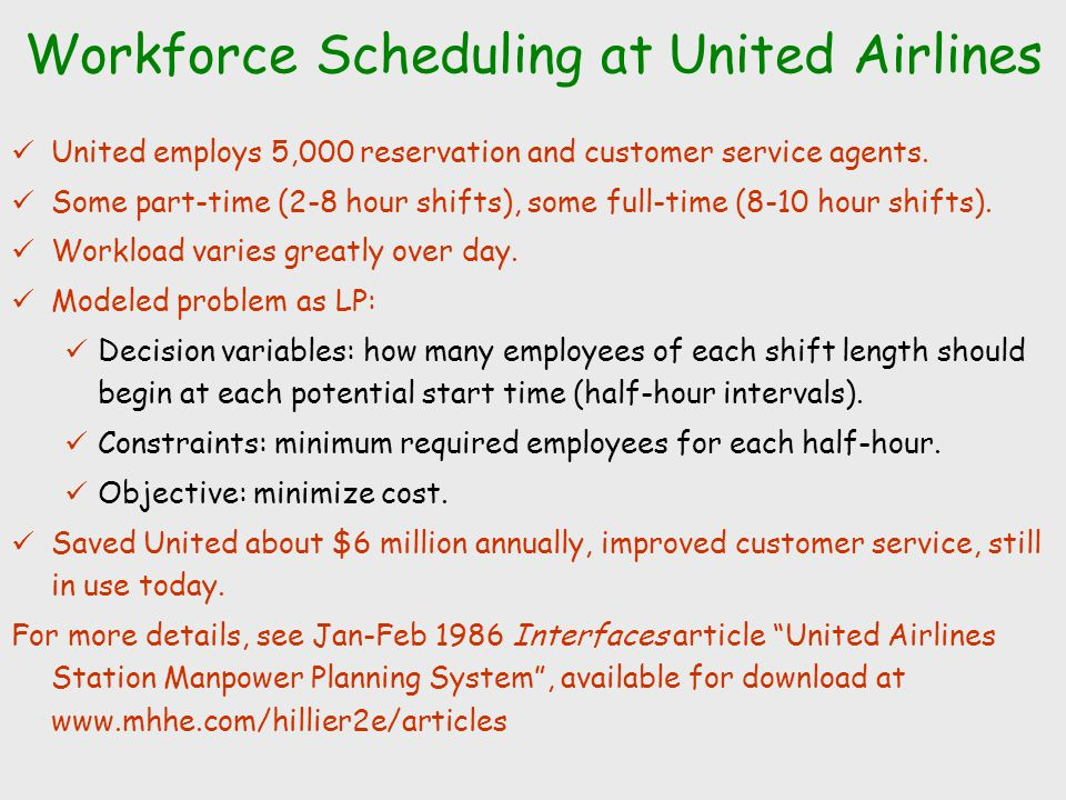 Workforce Scheduling at United Airlines