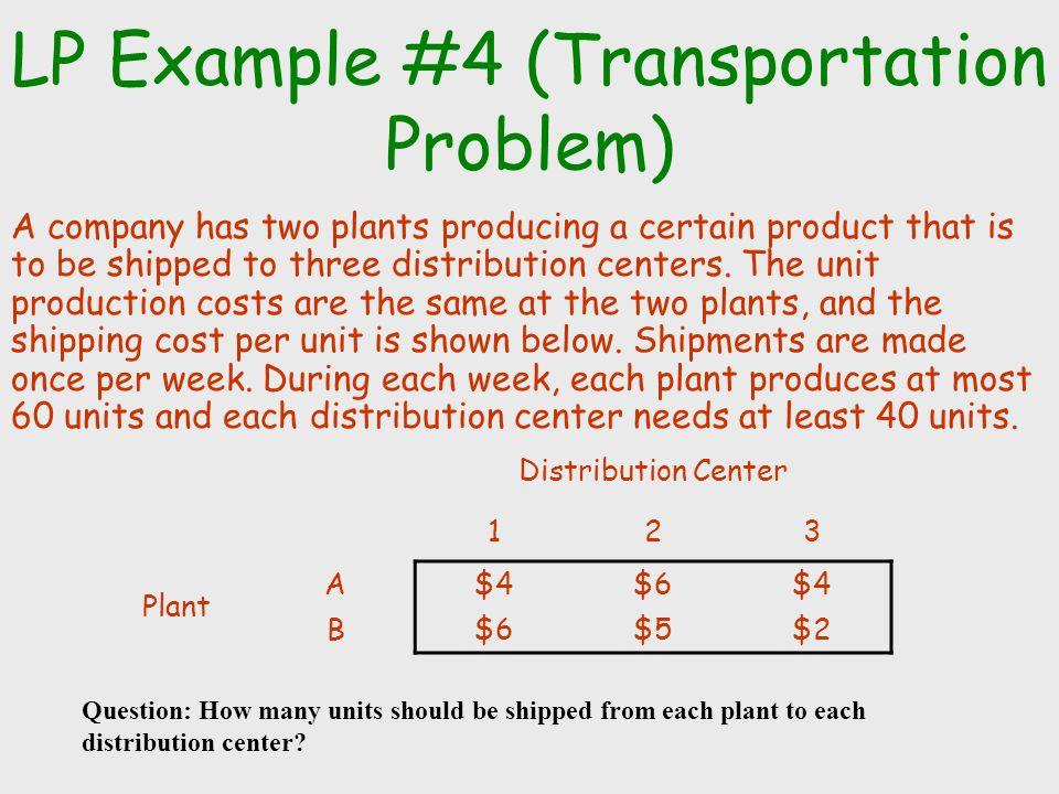 LP Example #4 (Transportation Problem)