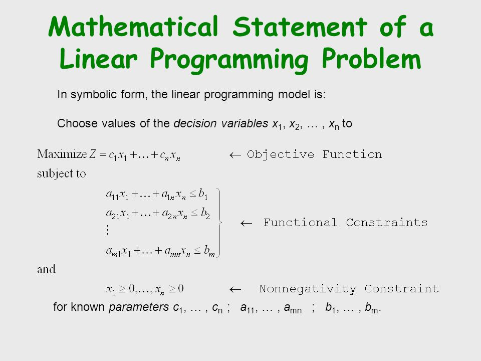 Mathematical Statement of a Linear Programming Problem