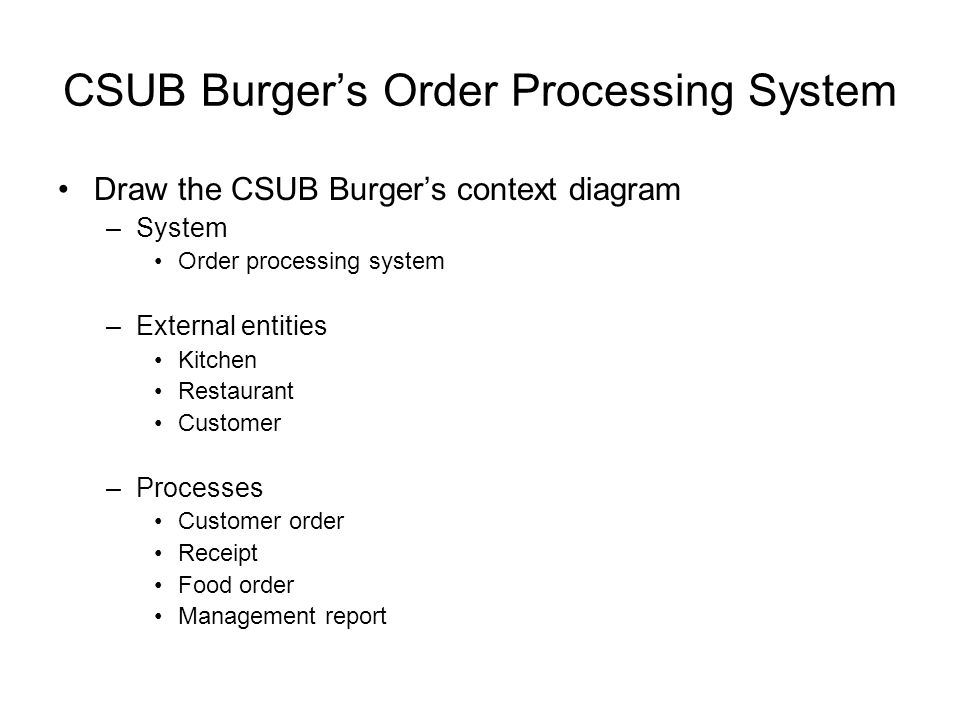 CSUB Burger's Order Processing System