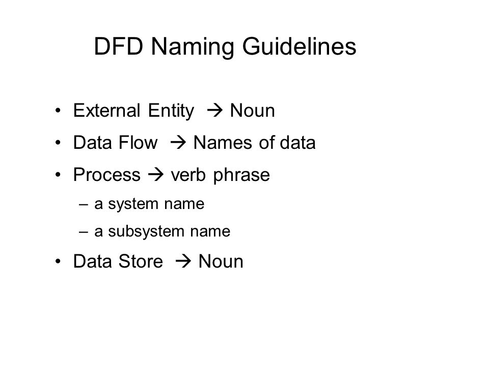 DFD Naming Guidelines External Entity  Noun Data Flow  Names of data