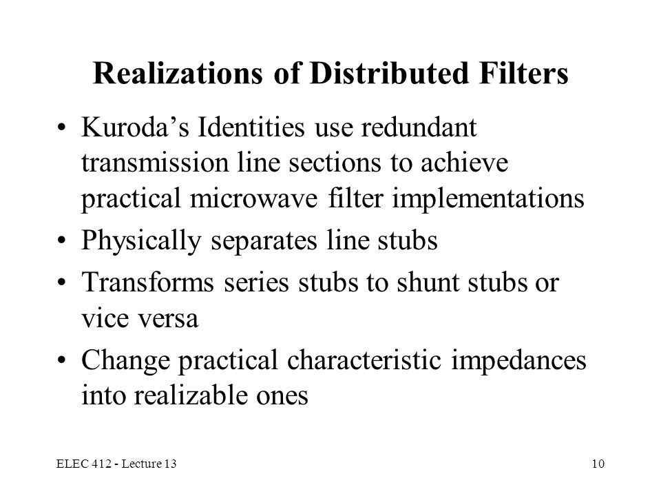 Realizations of Distributed Filters