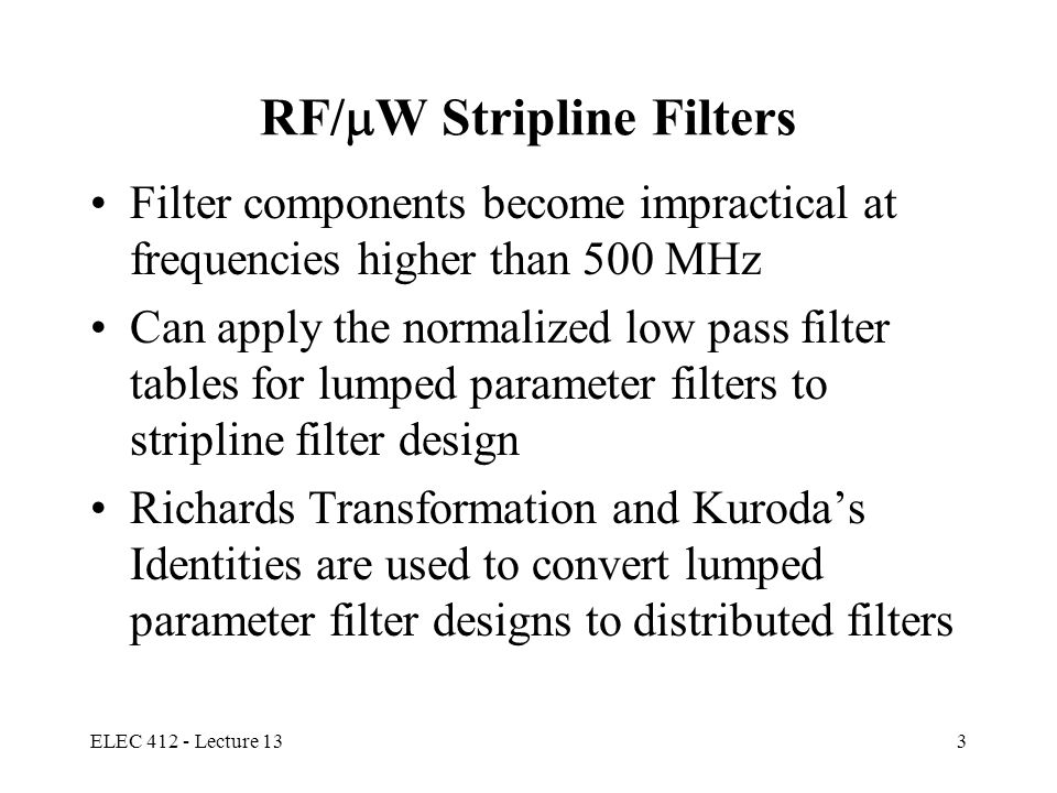 RF/W Stripline Filters