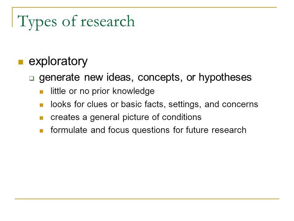 Types of research exploratory