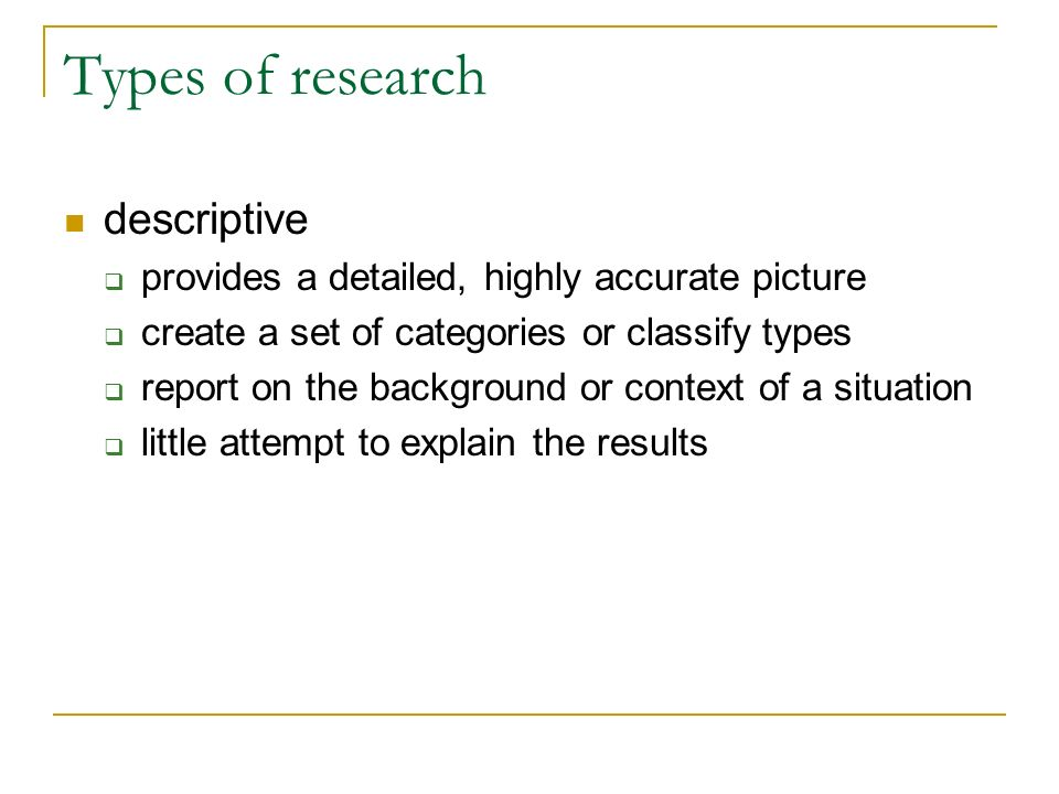 Types of research descriptive