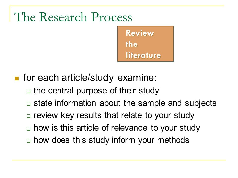 The Research Process for each article/study examine: Review the