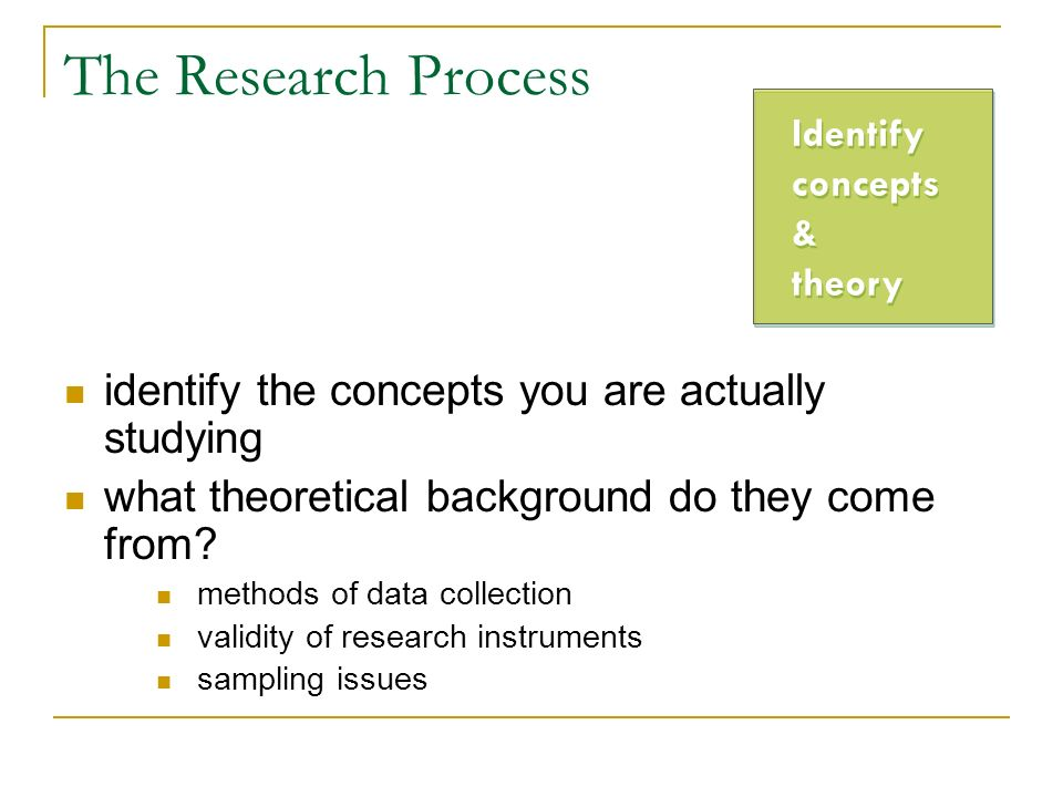 The Research Process identify the concepts you are actually studying