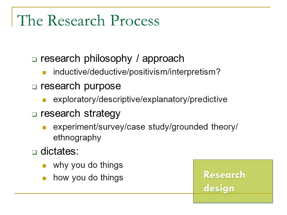 The Research Process Research design research philosophy / approach