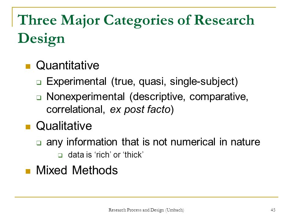 Three Major Categories of Research Design