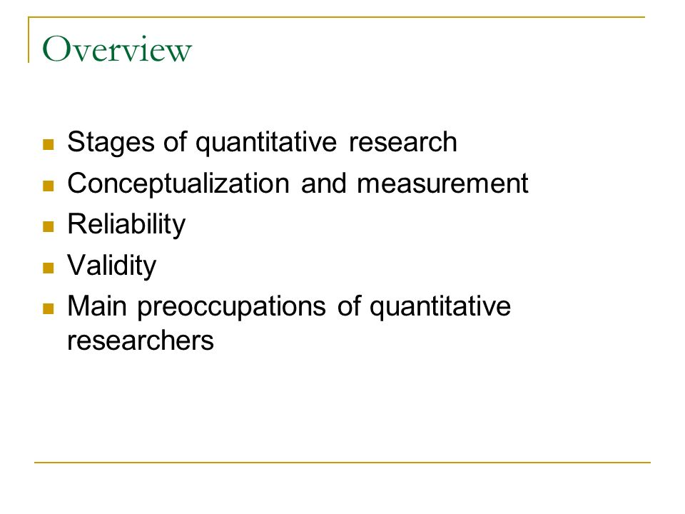 Overview Stages of quantitative research