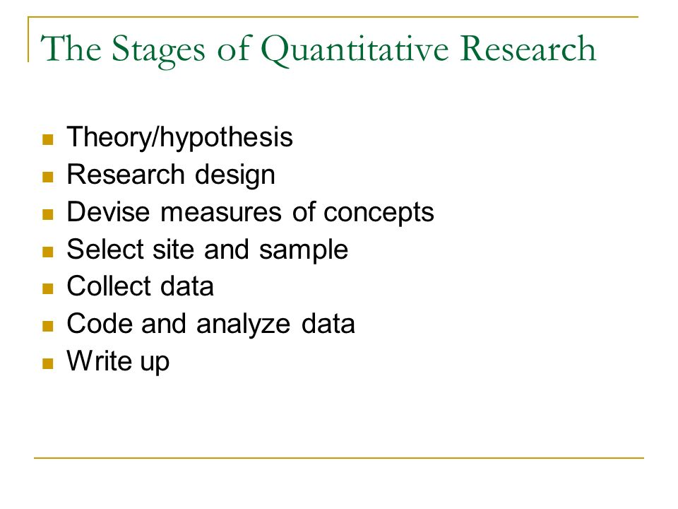 The Stages of Quantitative Research