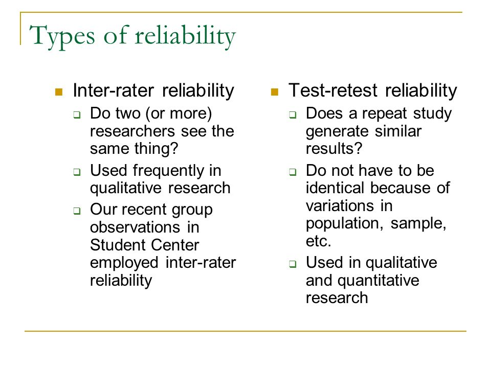 Types of reliability Inter-rater reliability Test-retest reliability