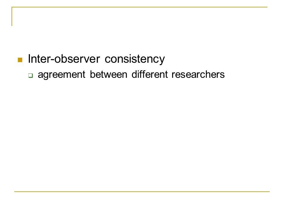 Inter-observer consistency