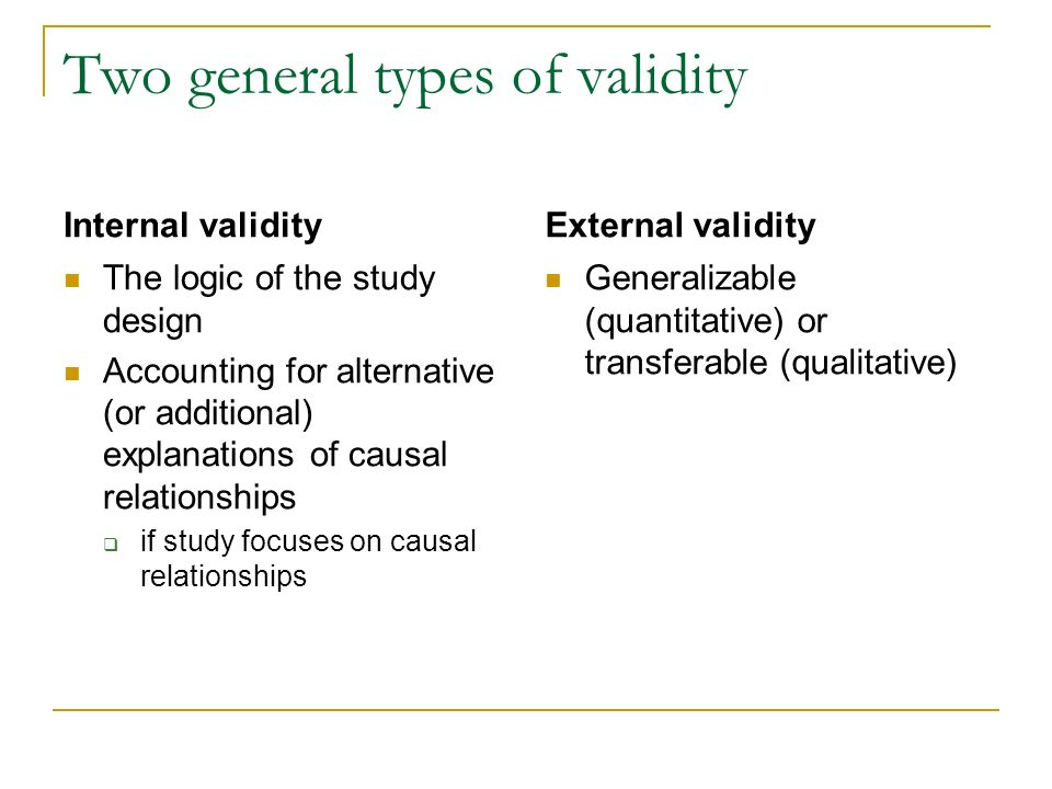 Two general types of validity