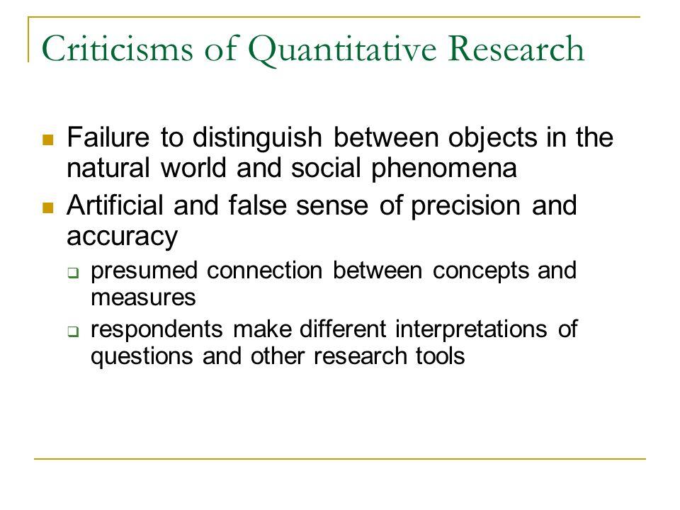 Criticisms of Quantitative Research