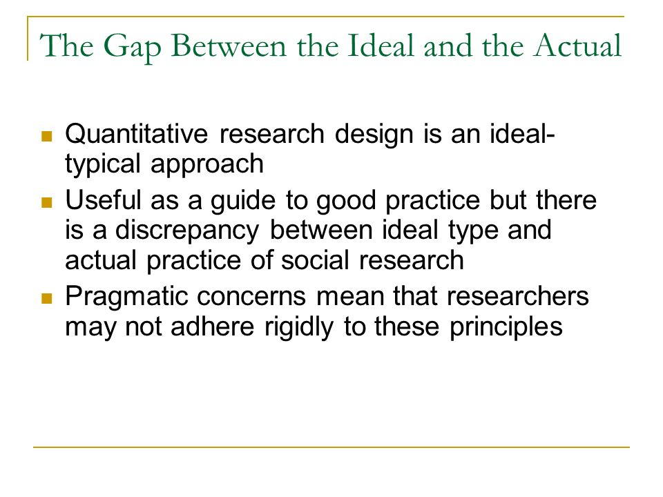 The Gap Between the Ideal and the Actual