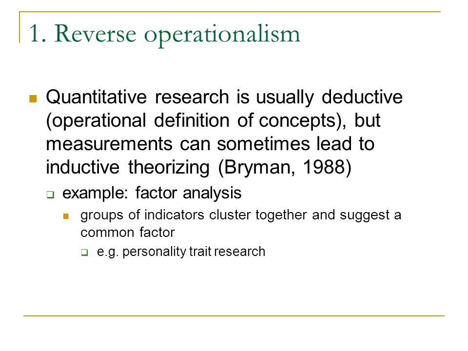 1. Reverse operationalism