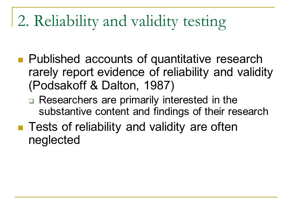 2. Reliability and validity testing