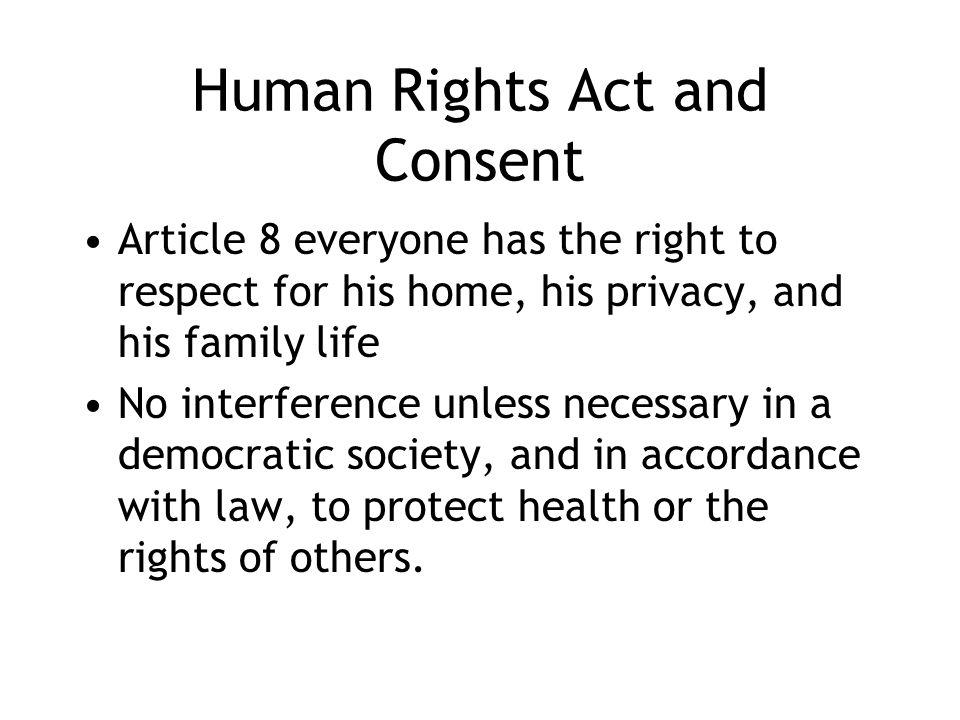 Human Rights Act and Consent