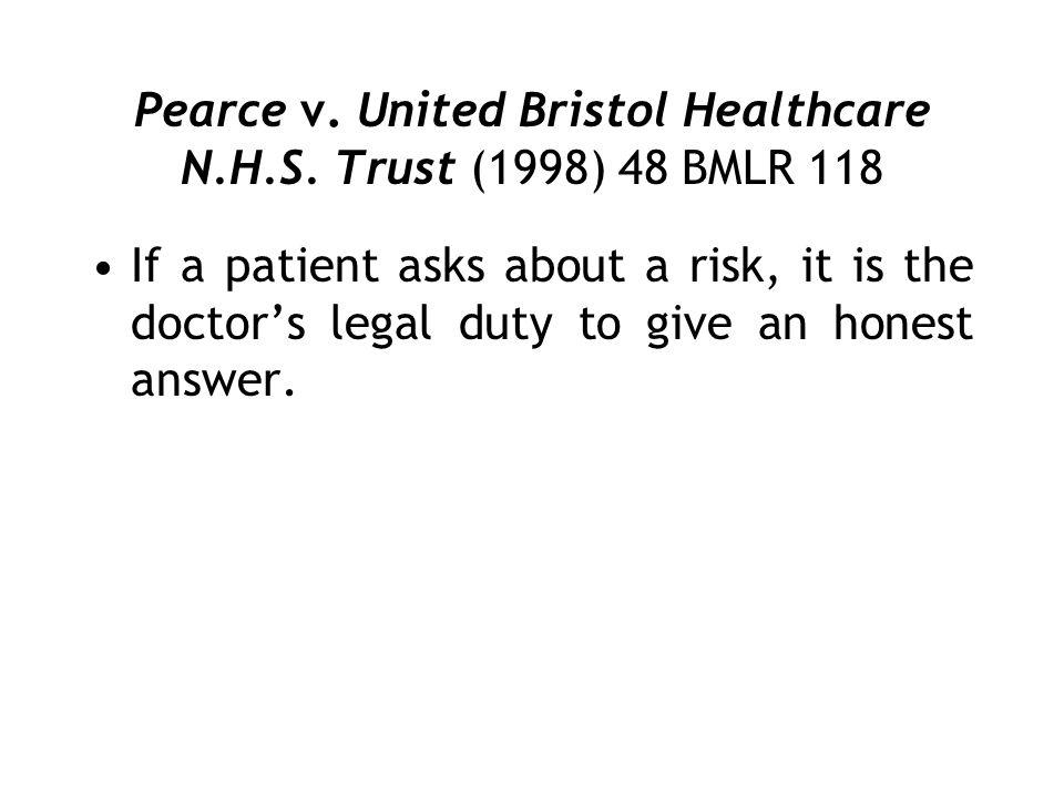 Pearce v. United Bristol Healthcare N.H.S. Trust (1998) 48 BMLR 118