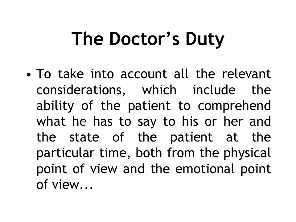 The Doctor's Duty
