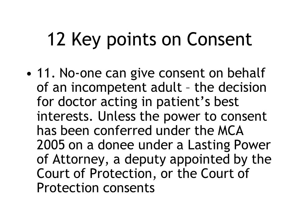 12 Key points on Consent