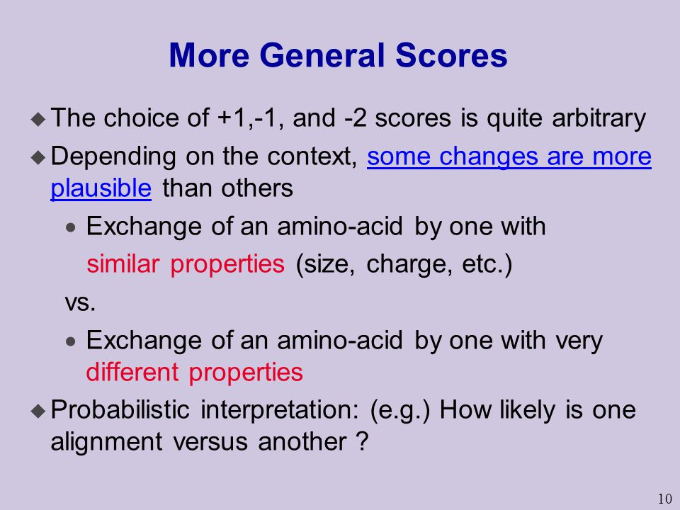 More General Scores The choice of +1,-1, and -2 scores is quite arbitrary. Depending on the context, some changes are more plausible than others.