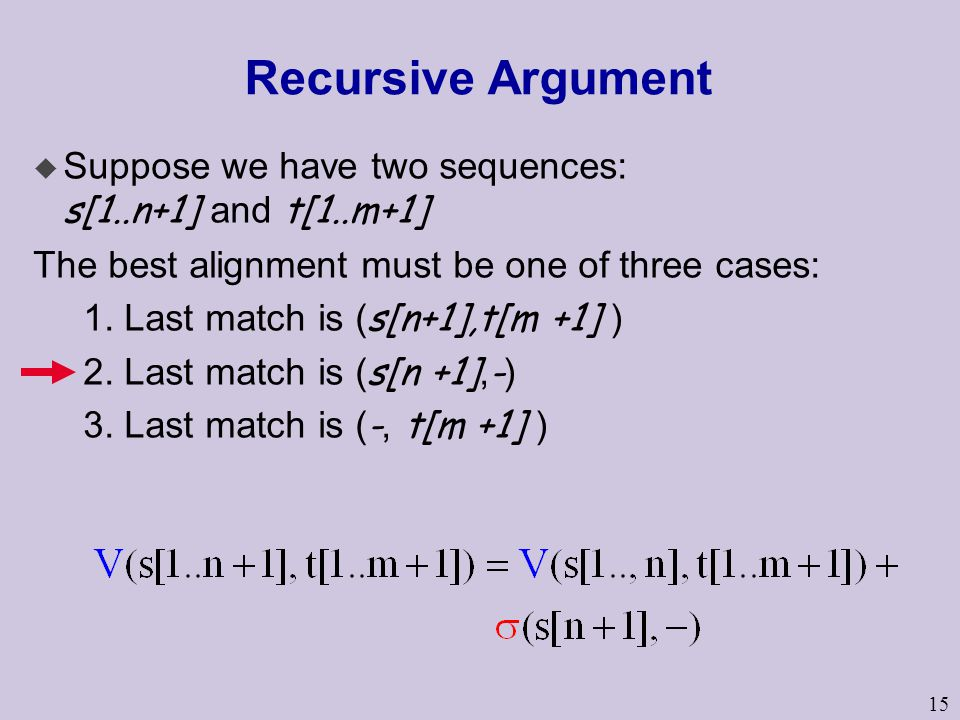 Recursive Argument Suppose we have two sequences: s[1..n+1] and t[1..m+1] The best alignment must be one of three cases: